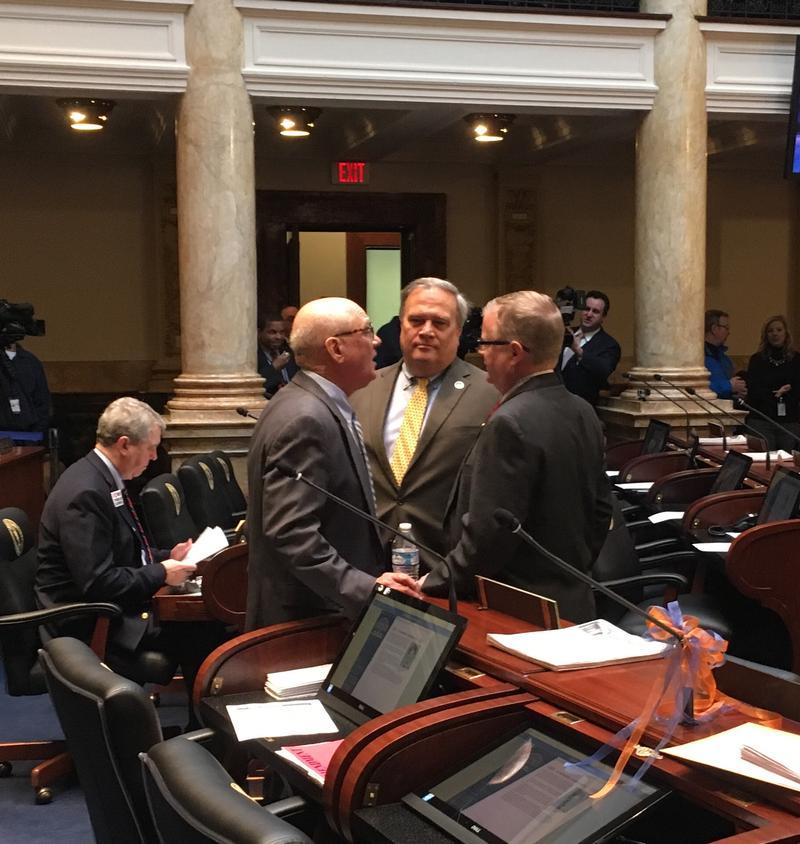 Left to Right-Pension Bill Sponsor Joe Bowen-Senate President Robert Stivers-Senate Majority Floor Leader Damon Thayer Before Session Friday