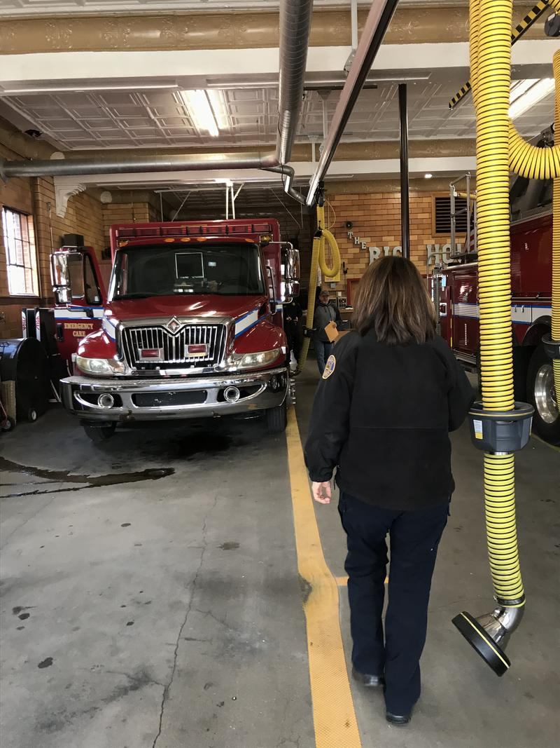 Chief Chilton walks through the firehouse to check out one of Lexington Fire Department's ambulances