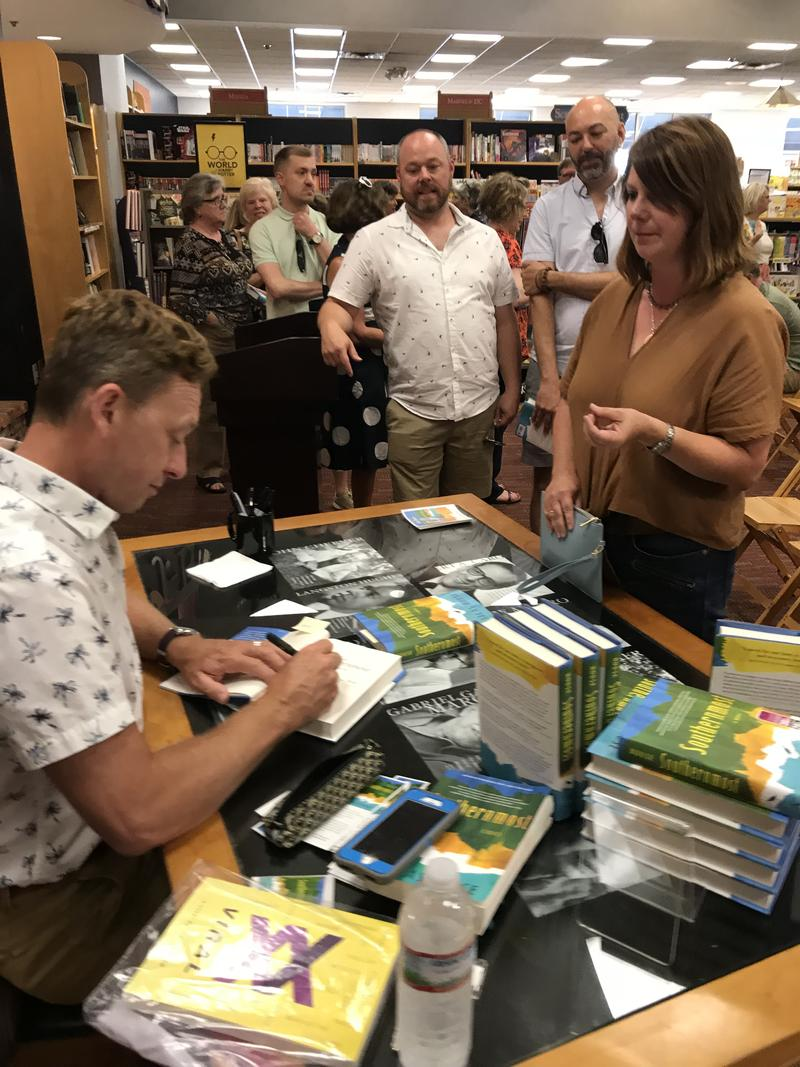 "People wait in line for Silas House to sign their copy of ""Southernmost"""