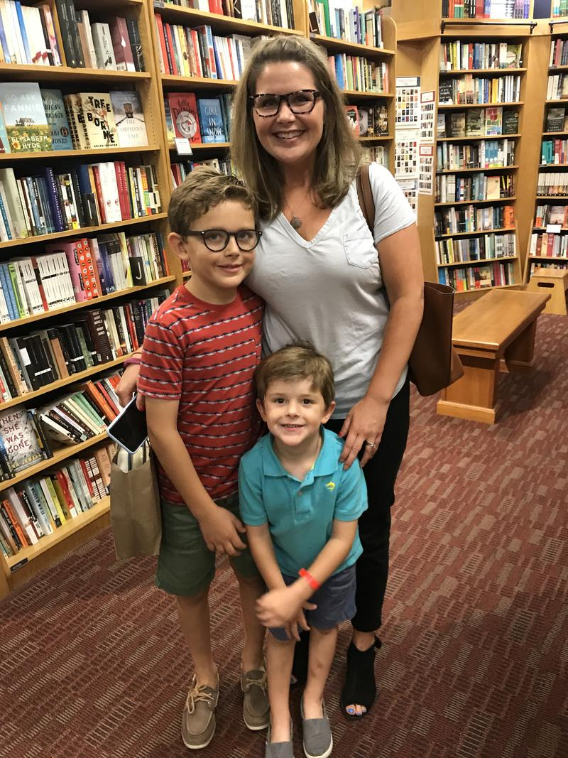 Fort Thomas resident , Jessica Canterbury brought her sons to hear Kentucky writer Silas House read.