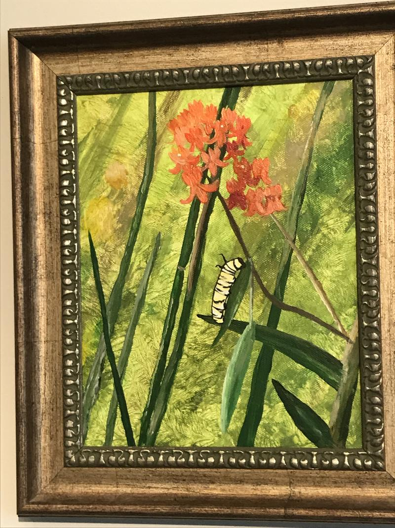 """Dawn Shroyer says shes not an artist and still painted""""Milkweed Monarch"""". She came up with the idea of Paint by Nature :Streamside"""