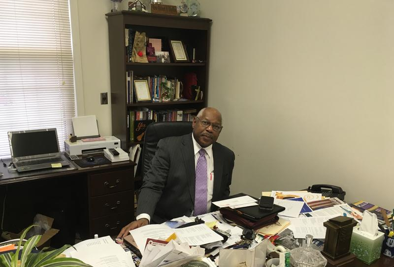 Mayor Elect Blythe At His Church Desk