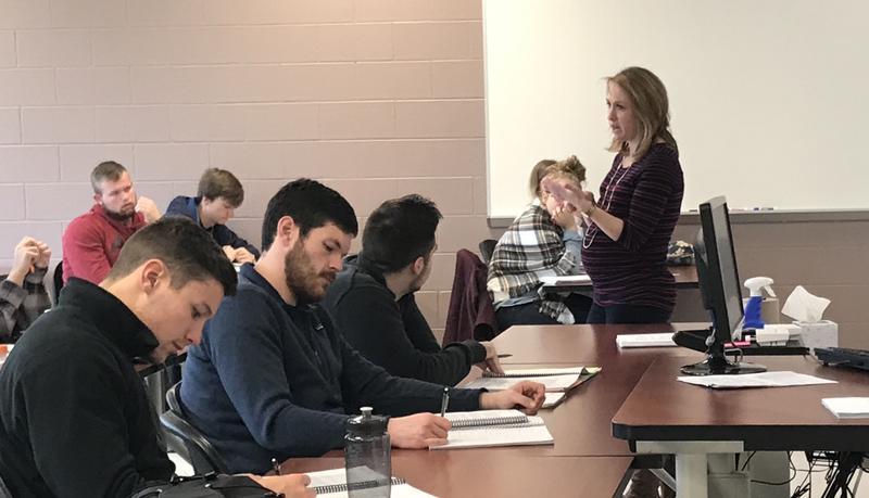 EKU's Dr. Beth Polin prepares students for exam.
