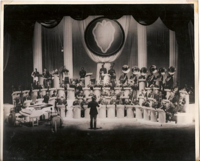 24th Army Division Band performing in the Ernie Pyle Building on October 24 1952 in Tokyo, Japan.