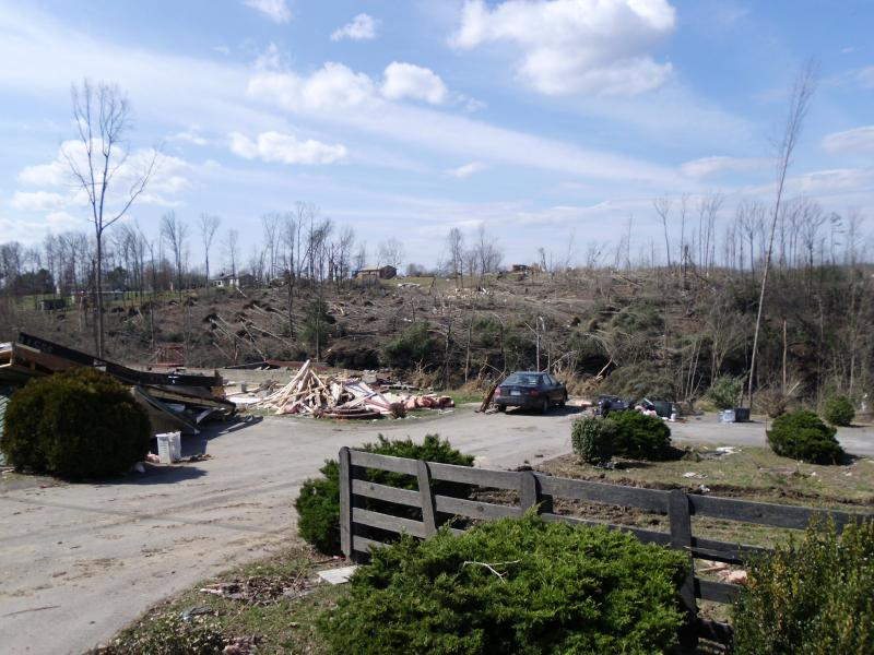 Tornado's path through East Bernstadt