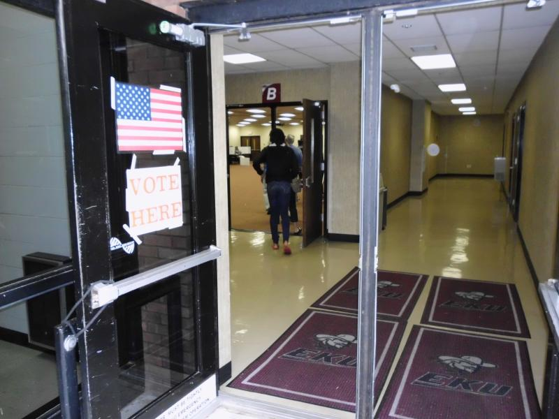 Voters arrive at polling place inside the Perkins Building at Eastern Kentucky University. A city council race increased local interest in today's primary.