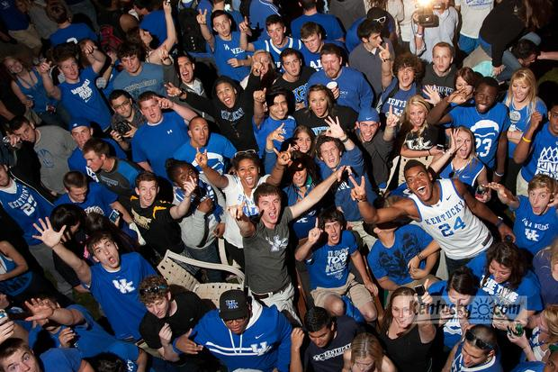UK fans pour into the intersection of Elizabeth and State Street in Lexington to celebrate the program's eigth National Basketball title, April 02, 2012 on State Street in Lexington .