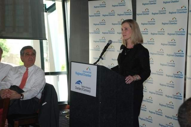 Julie Janson, president of Duke Energy in Ohio and Kentucky and chair of the Cincinnati USA Regional Chamber board of directors, announces the creation of the BN Coalition to help fast-track the $2.5 billion replacement of the Brent Spence Bridge.