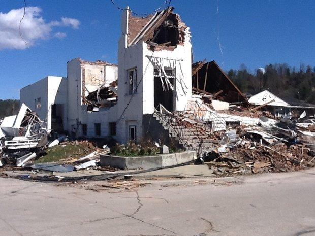 The United Methodist Church in downtown West Liberty, now in ruins after devastating March storms.