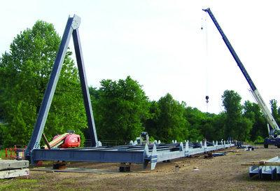 Pictured above is the steel truss that was assembled at the Eddyville Riverport this week.