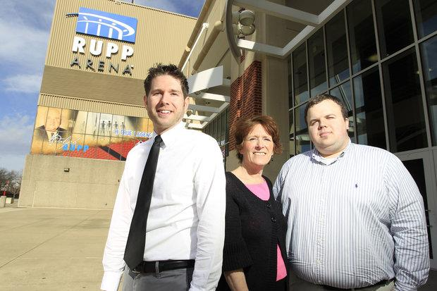 Rupp Arena's Matt Johnson, Sheila Barr Kenny and Paul Hooper, from left, have helped create a comprehensive social media presence for the venue that has earned national recognition.