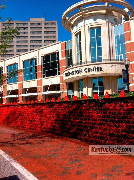 It was supposed to be pink, but a mix-up produced bright-red water in Lexington's Tiangle Park Fountain.
