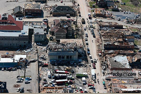 Aerial Photo showing damage from storms that hit West Liberty area March 2nd 2012. Taken Saturday March 3rd 2012.