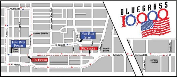 Path for Thursday's Bluegrass 10,000 in Lexington.