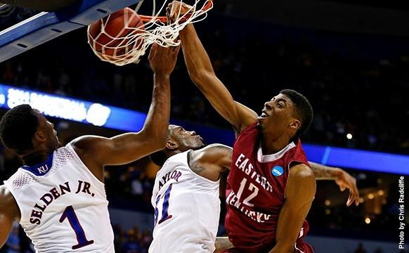 EKU Senior Glenn Cosey sparked the upset-minded Colonels early with four first-half three-pointers at the Scottrade Center in St. Louis