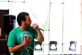 The rapper &quot;Homegrown&quot; performing.