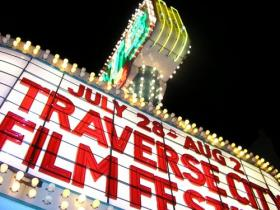 A marquee with &quot;July 28 - Aug 2 Traverse City Film Festival&quot;