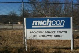 A sign for MichCon.