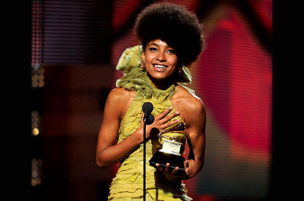 "Esperanza Spalding receiving her ""Best New Artist"" Grammy Award in 2011."