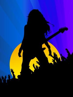 A silhouette of a guitarist with fans reaching up to them with a light in the background and a blue backdrop.