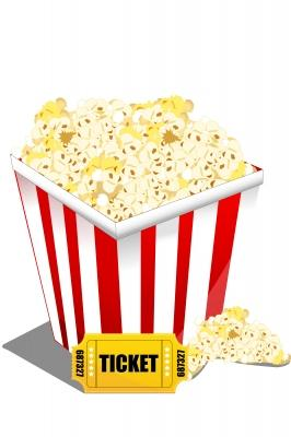 A tub of popcorn with a movie ticket.