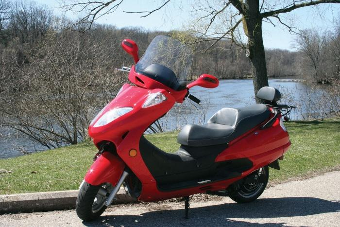 A red electric motorcycle.