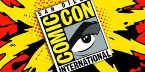 San Diego Comic Con logo on a yellow comic burst.