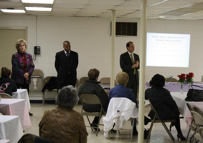 Superintendents of WISD, Willow Run and Ypsilanti make a presentation at a community forum on the proposed consolidation of the Willow Run & Ypsi school districts.