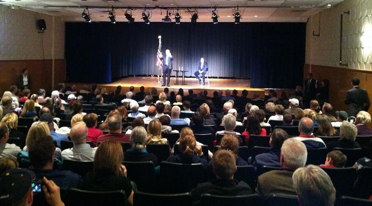 Governor Rick Snyder (l) and State Representative Mark Ouimet (r) at last night's town hall meeting in Saline.