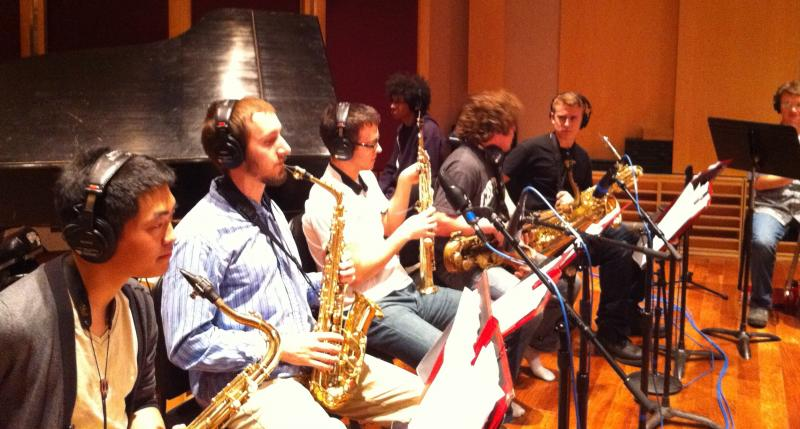 University Of Michigan Jazz Ensemble in Recording Studio