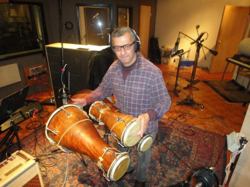 """Alberto Nacif playing bata drums during """"Elemental"""" recording session"""