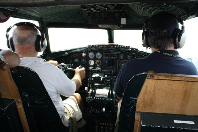 The cockpit of the Yankee Lady in flight.