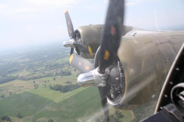 The B-17's starboard engines, as seen from inside the plane.