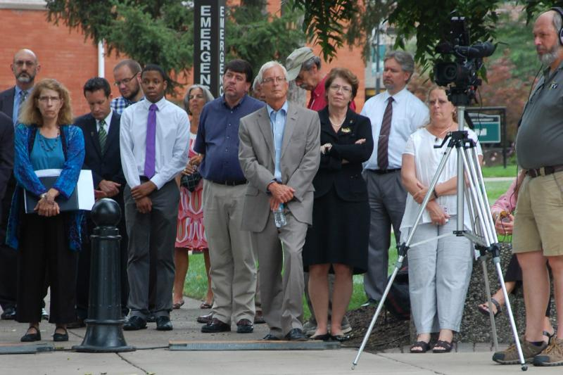 "EMU students and administration listen to Dr. Martin Luther King's ""I Have A Dream"" speech."