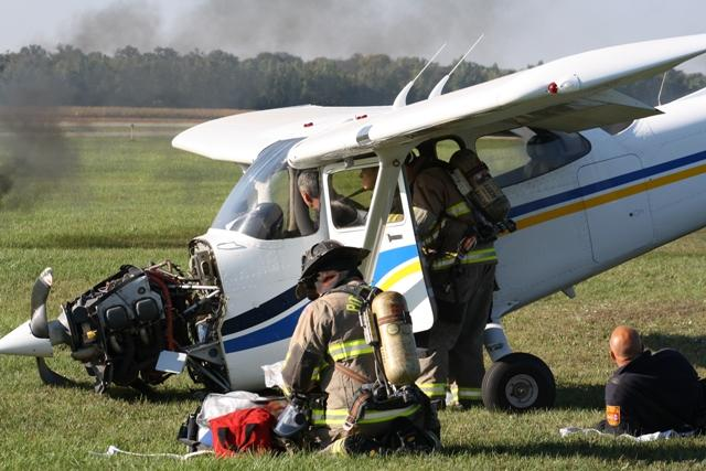 Pittsfield Township fire fighters practice responding to a small plane crash at Ann Arbor Municipal Airport