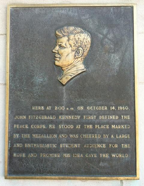 A plaque on the Michigan Union wall provides details of Kennedy's visit.