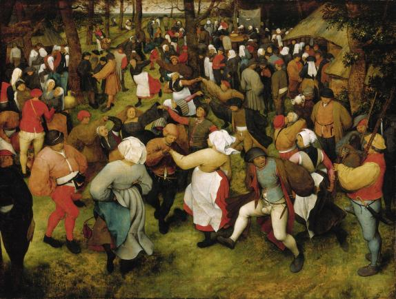 This Bruegel painting received the highest appraisal in the Christie's report, with an upper estimate of $200 million.  The Wedding Dance, Pieter Bruegel the Elder, c. 1566, oil on oak panel.
