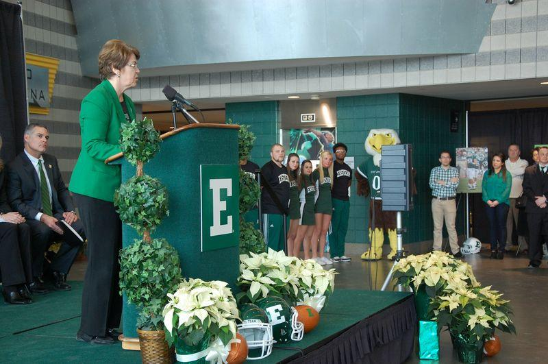 EMU president Susan Martin introduces Chris Creighton as EMU's new head football coach during Thursday's event