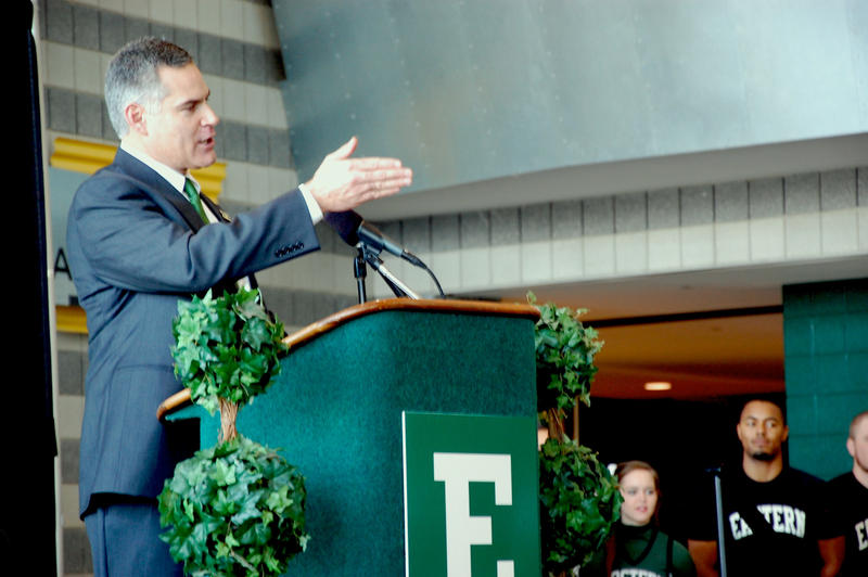 Coach Creighton addresses the EMU community on Thursday