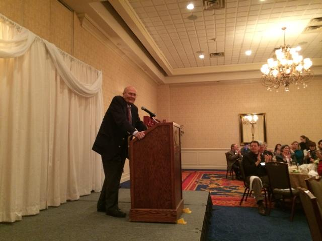 Congressman John D. Dingell speaks at the Ann Arbor/Ypsilanti Regional Chamber luncheon meeting.