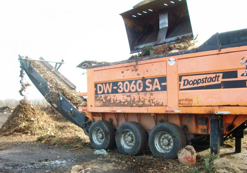 Doppstadt Grinder at Ann Arbor's composting facility.