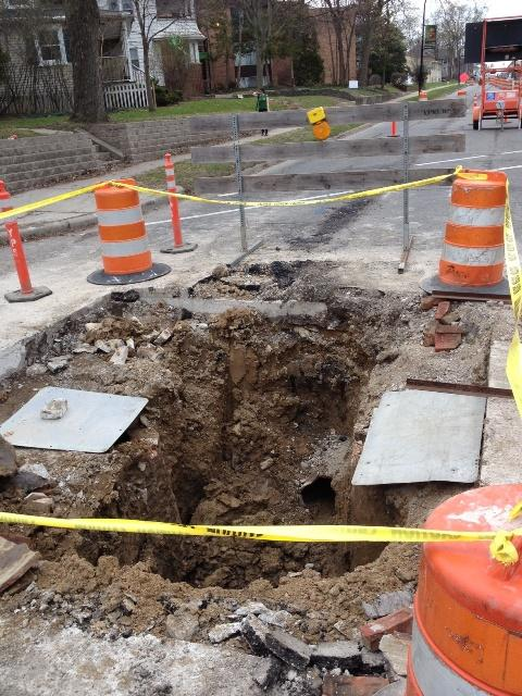 Sinkhole on eastbound Washtenaw Avenue at College Place in Ypsilanti