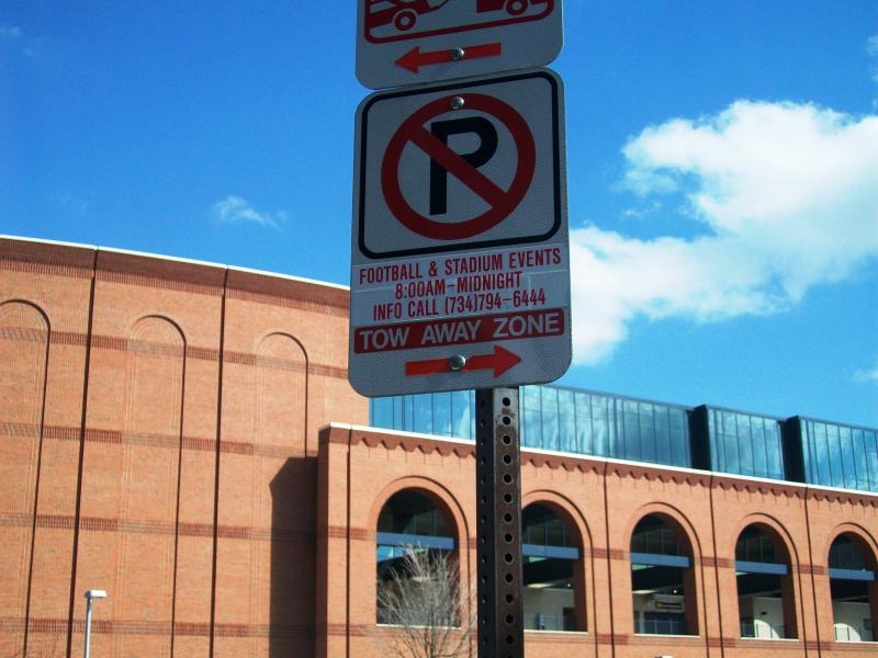 Football Parking Restricted Sign
