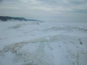 Frozen Lake Michigan In March