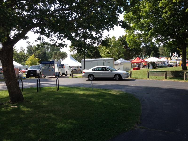 Last-minute preparations in Riverside Park for the Ypsilanti Heritage Festival