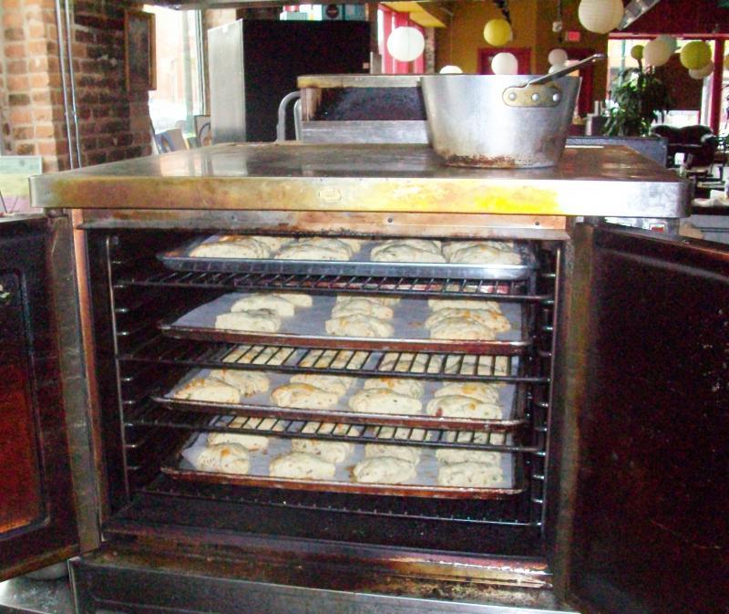 Bacon cheddar scones bake at Bona Sera Cafe