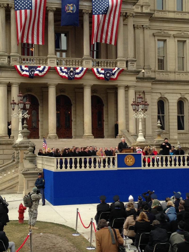 Governor Rick Snyder delivers his second inaugural address from the steps of the state Capitol