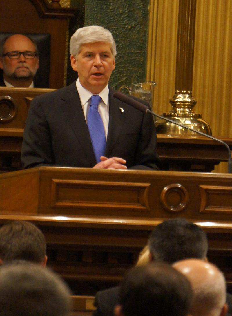 Governor Rick Snyder delivering his 5th State of the State address at the Michigan Capitol