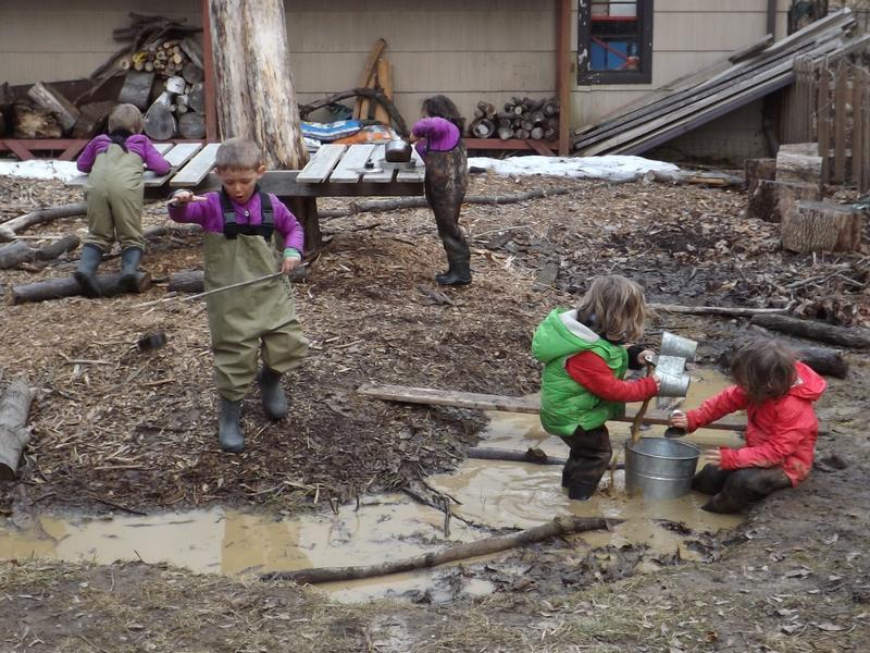 Wearing waders at Florecita Forest Kindergarten