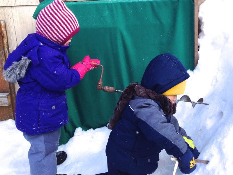 Drilling with the auger at Blossom Home Preschool